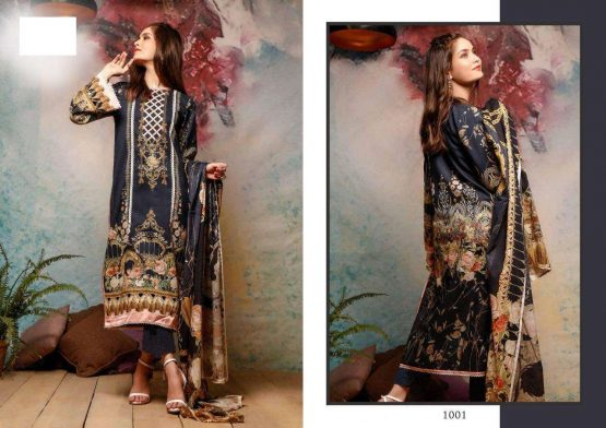 DS FABRICS Beautiful Pakistani Suits Colorful Stylish Fancy Casual Wear & Ethnic Wear Pure Lawn Cotton Digital Print With Heavy Neck Embroidery With Pure Lawn Digital Printed Dupatta Dress Material