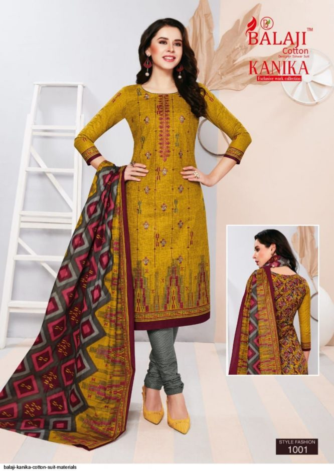 DS Fabrics Pure Cotton Suit Material With Fancy Work & Print